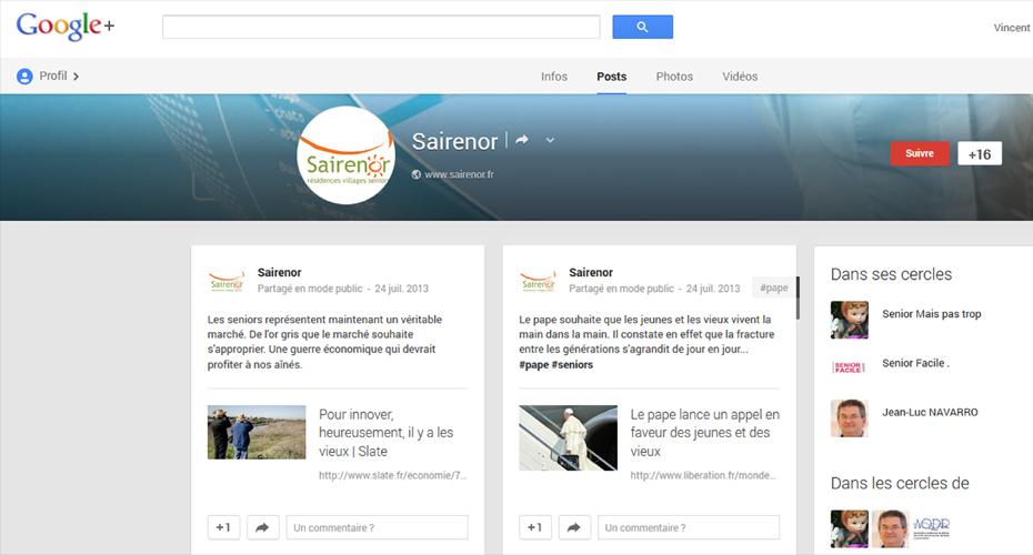 Mise en place de la page Google+ Sairenor