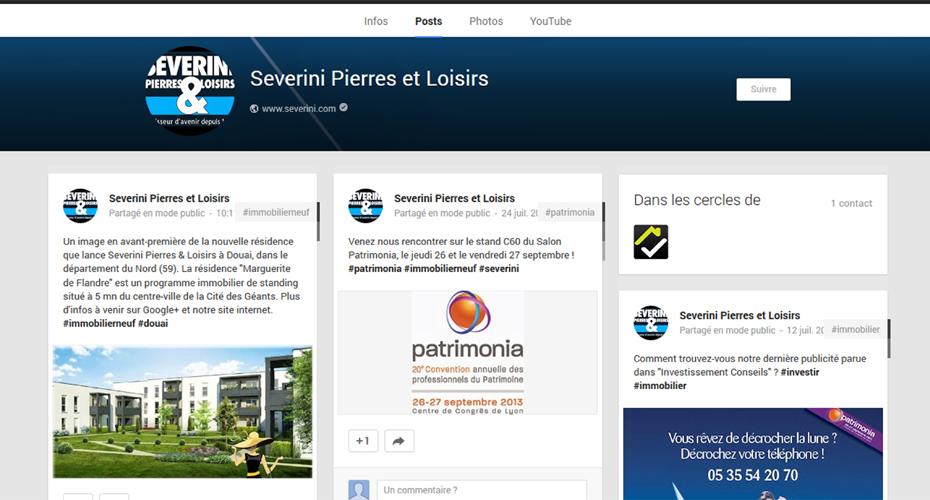 La page Google+ de Severini Pierres & Loisirs