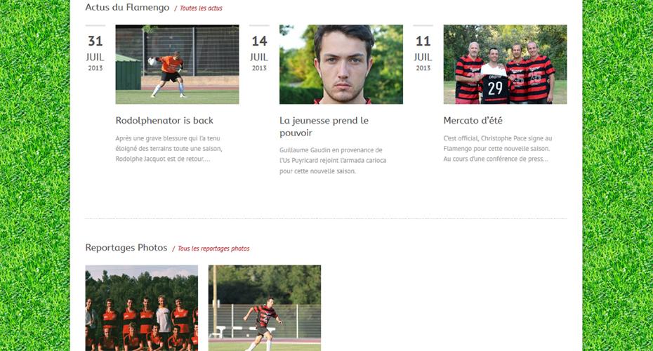 Une page internet du site du Flamengo