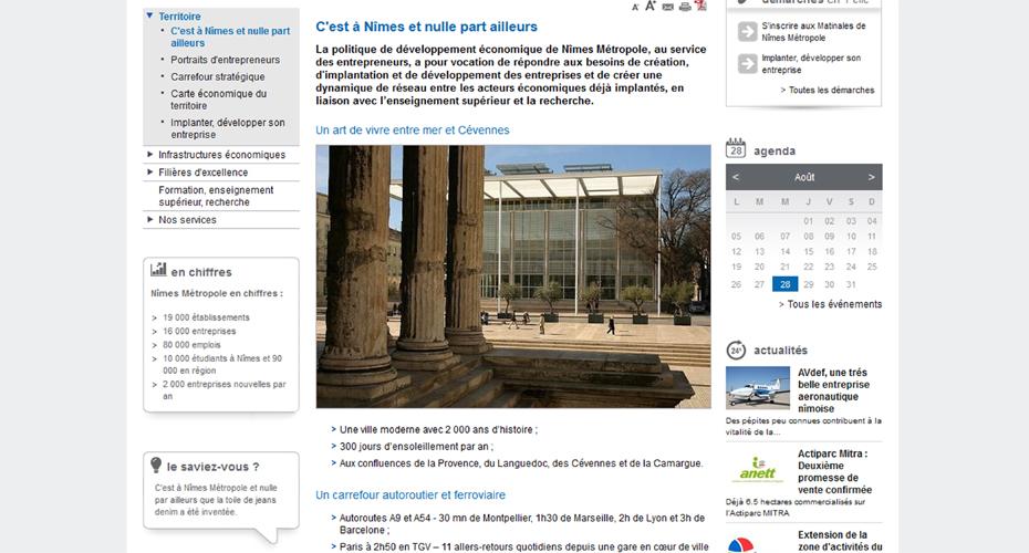 Une page du site de Nîmes Métropole