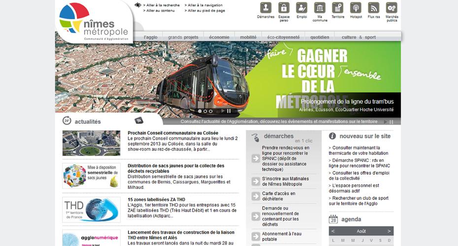 Site internet de Nîmes Métropole