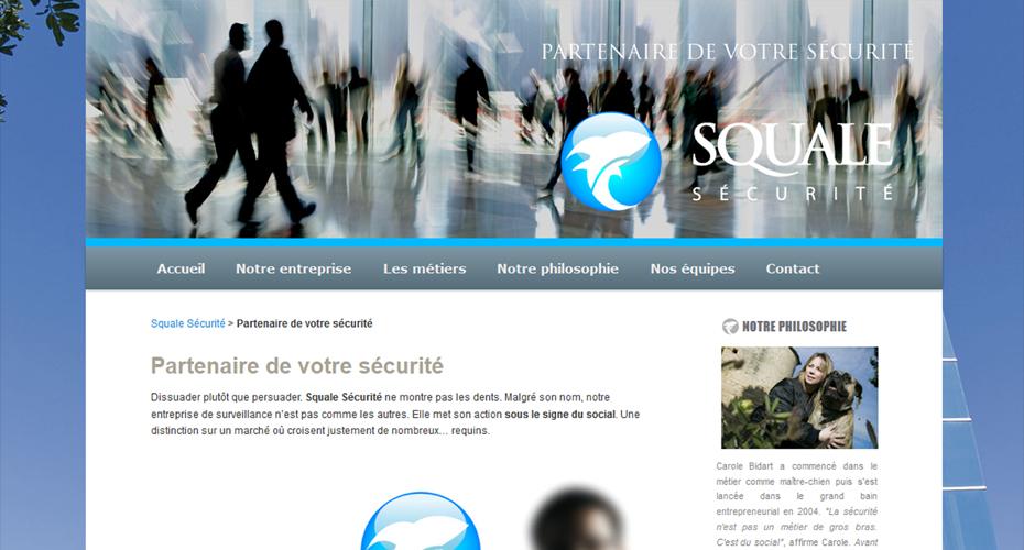 Une page du site internet Squale Sécurité