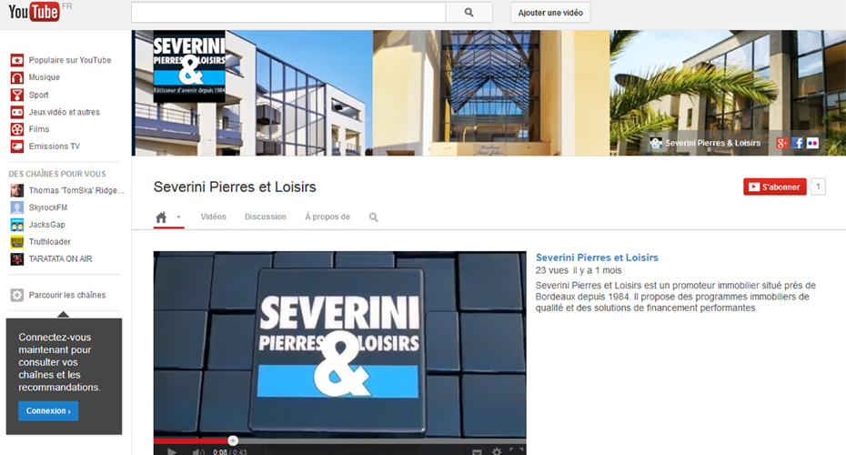La Page Youtube de Severini Pierres & Loisirs